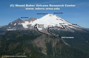 The 2012 photo, with annotations. Black line indicates approximate 1912 ice positions. Dave Tucker photo.