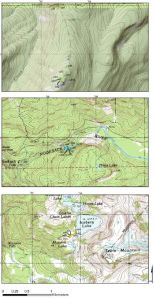 Sample location maps. Top to bottom: Dacite of Cougar Divide, dacite of Nooksack Falls, and dacite of Mazama Lake.