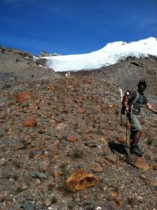 Paul Whelan below the terminus of the Easton Glacier. Click to enlarge any image.