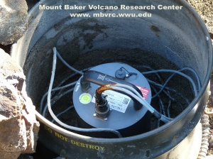 One of the two permanent, telemetered seismometers at Mount Baker.
