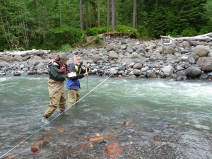 Sue Madsen and Dave Church gage Boulder Creek as part of a USGS volcano monitoring regime.