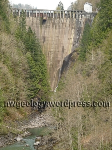 The Lower Baker Dam impounds Lake Shannon just above Concrete, Washington.