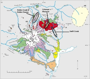 Ricardo will samle the circled lava units. Map from Hildreth, 2003.