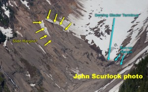 The May 31 landslide in little ice age glacial moraine on south facing slope above the Deming terminus. J. Scurlock photo.