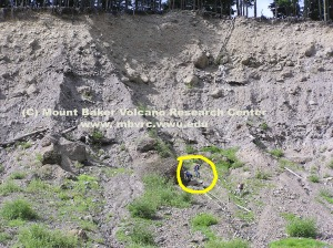Close up of the moraine. People are circled for scale. Dave Tucker photo.