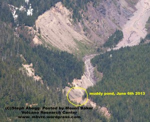 Steph Abegg's June 6 photo taken from John Scurlock's ariplane shows the muddy little pond in the river. Used with permission.
