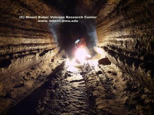 Lava levees in lower Ape Cave lava tube. Click to enlarge. Copyright John Scurlock.