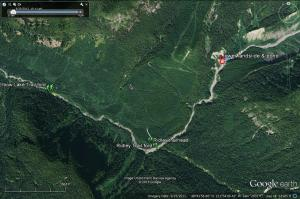 Google Earth image showing location of the June 6th landslide and small pond.