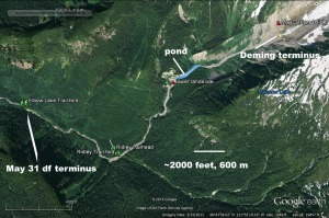 Google Earth image showing points of interest in upper MF Nooksack. Click to enlarge any image.