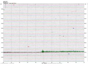 From Seth Moran, PNSN: Twelve-hour plot from seismometer station MBW clearly shows the onset of the a very obvious debris-flow signal at 0953 UTC (0253 PDT). The main event produced appreciable above-background seismic energy for 12-13 minutes, mostly in the first 5-6.