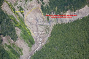 Aerial view of the landslide into the Nooksack River at 3400'. Courtesy John Scurlock.