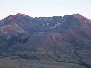 Mount Saint Helens, the 1980 crater, and the new dome, sunset, Johnston Ridge Trail.