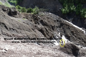 The toe of the landslide. Scott Linneman is circled for scale. Water gushes out of the debris just to his left and  beyond. Large block at upper left is 15-20' high.