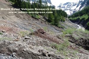 The landslide scarp.