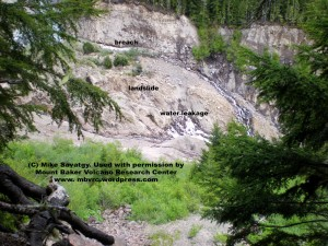 Looking down at the landslide deposit in the river. Courtesy Mike Savatgy.