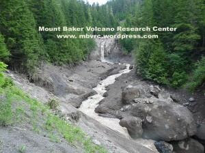 The upper waterfall. The May 31 debris flow filled the channel to at least 10 meters here.