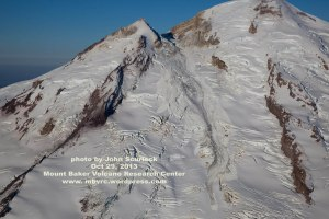 The flow descends from Sherman Peak nearly to the end of the glacier. Click to enlarge any image, reclick to magnify.