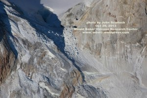 A wall of ice and rock around 30 m high blocks the east breach of Sherman Crater.