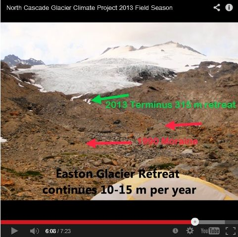 Screenshot from Pelto's 2013 video showing recession of Easton Glacier on Mount Baker.