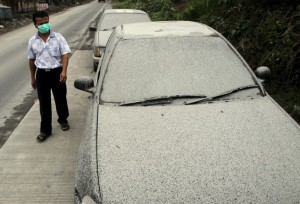 Sinabung ash on vehicles. If this happens to you, don't brush it off! Ash is  abrasive and ruins paint!
