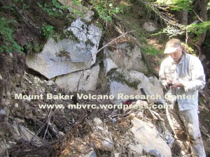 D. Tuckers assists with sampling at the none-too-prominent Dobbs Cleaver andesite.
