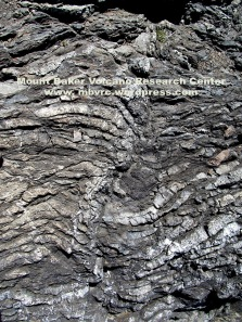 Ribbon chert deposited in the deep ocean is now exposed at Rosario Head.