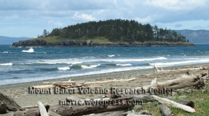 West Beach, Deception Pass State Park consists of eroded Pleistocene glacial deposits. Fidalgo Island, across Deception Pass, consists of sea floor rocks accreted to the margin of North America.