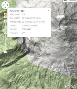 Map showing location of M 1.6 seismic event at Deming Glacier